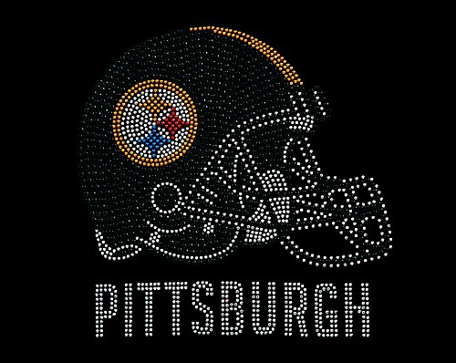 "Hand Made Rhinestone ""Pittsburgh Helmet"" Transfer Paper"