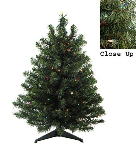 18-Pre-Lit-Natural-Two-Tone-Pine-Artificial-Christmas-Tree-Multi-Color-Lights