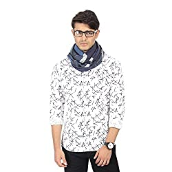 FabSeasons Cotton Unisex Navy Blue Printed Scarf, Scarves, Stoles and Shawl