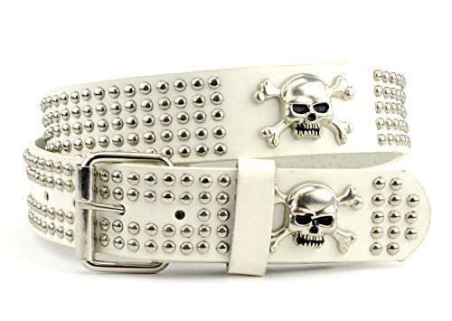 Nyfashion101 Round Studded Skull Crossbone Stud Genuine Leather D-Buckle Belt Xl White
