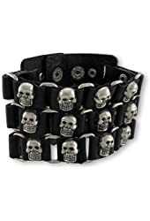 Black 3 Row Skull Studded Link Leather Cuff Wristband