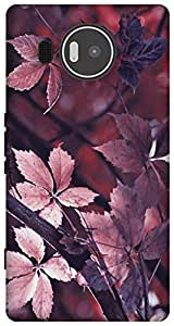 The Racoon Lean leafy autumn mauve hard plastic printed back case / cover for Microsoft Lumia 950 XL