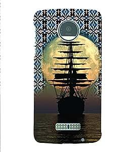 PrintVisa Travel Ship Sunset 3D Hard Polycarbonate Designer Back Case Cover for Motorola Moto Z
