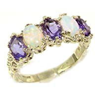 Victorian Design Solid English Sterling Silver Natural Amethyst & Fiery Opal Band Ring – Finger…