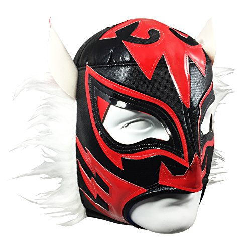 WHITE TIGER Adult Lucha Libre Wrestling Mask (pro-fit) Costume Wear - Black/Red