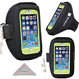 iPhone 6, 6s Armband, S7 S6 S5 Exercise Workout Running Armband for OtterBox Defender or Commuter Series Or Lifeproof Cases by Wisdompro [Key Holder & Headphones Organizer]- Black (Medium/Large Size)