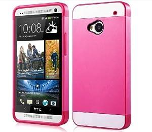 1X Hybrid TPU Silikon Strass Glitzer Hülle Hüllen Schutzhülle Tasche Etui Protection Case Protective Cover für HTC One M7 - Hot Pink Rosa + Weiß + Rosa