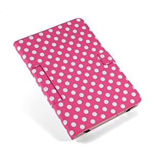 """Housse Uuniversel style a pois couleur fond Rose polka dot blanc simi cuir support pour tablette PC 10"""" 10.1"""", 10.2"""" style traditionnel ex. Android Tablet PC Tab Epad Apad, MID pad, SuperPad, Samsung Galaxy Tab 10.1 P7500 P7510, Tab 2 10.1"""" P5100 P5110, Galaxy Note 10.1 N8000, 10"""" Blackberry player book, 10"""" E reader book, Acer ICONIA A500 A501, Motorola XOOM MZ601 10"""" Advent Vega, etc etui coque"""