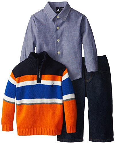 Nautica Baby-Boys Infant 3 Piece Striped Quarter Zip Sweater Set, Orange, 12 Months front-1015592