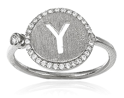 Real 925 Sterling Silver Letters of the Alphabet with Cz Stones Adjustable Ring - All Initials Available (