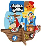 NEW WOODEN THREADING PIRATE SHIP WITH LACES AND CHUNKY BEADS SHAPES TOY 5808