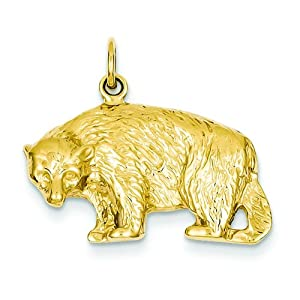 14K Yellow Gold Black Bear Charm Polished Jewelry