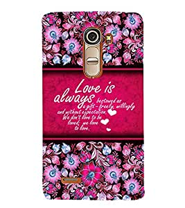 Love Is Always Best 3D Hard Polycarbonate Designer Back Case Cover for LG G4 Mini :: LG G4C