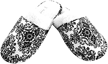 Leisureland Women39s Flannel Top Cozy Slippers Damask Print White