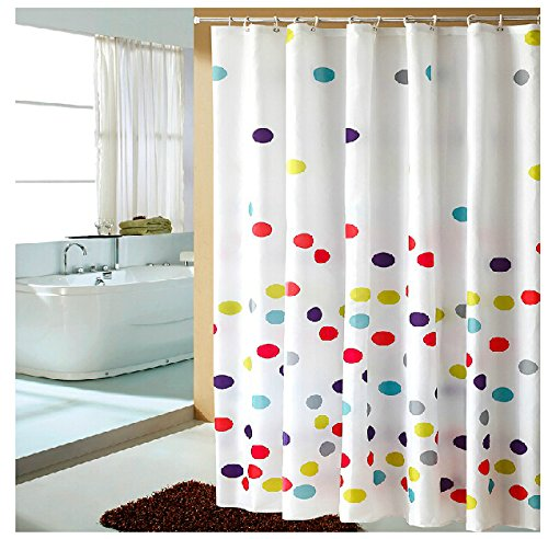 Eforgift polka dots pattern fabric shower curtain for Do shower curtains come in different lengths