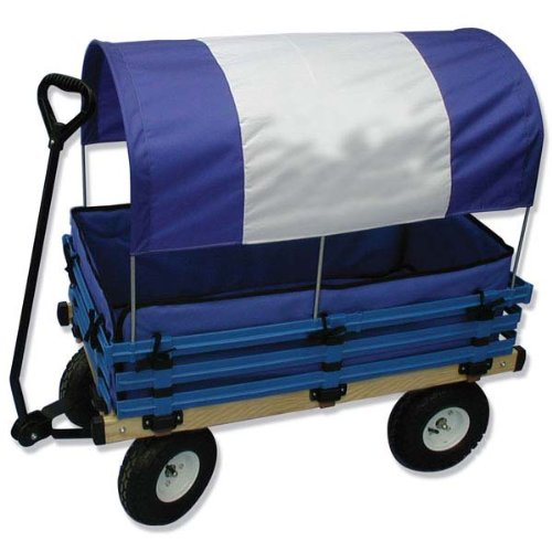 millside industries classic wood wagon with blue and white canopy toys games toys riding toys wagons. Black Bedroom Furniture Sets. Home Design Ideas