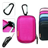 New first2savvv semi-hard pink camera case for CASIO EXILIM EX-ZS10 EXILIM EX-S200 EXILIM EX-S12 EXILIM Card EX-S10 EXILIM EX-ZS10 EXILIM EX-ZS5 EXILIM EX-Z37 EXILIM EX-Z35 with black camera hand strap