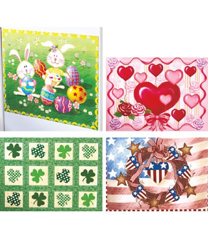 Set of 4 Seasonal Dishwasher Magnet Art Easter Americana Valentine's Day St. Patrick's Day