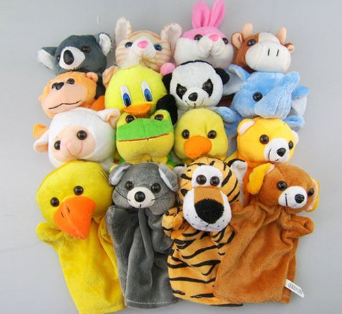 Set Of 16 Animals Hand Puppet Dolls Pretend Play Including Cat, Tiger, Toucan, Monkey, Frog, Cow, Sheep, Chick, Duck, Dog, Bear, Panda, Rabbit, Mouse, Elephant, Koala front-507592