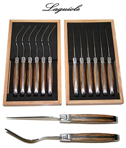 Authentic Laguiole - 12 Pcs Steak Flatware Set (6 Steak Knives + 6 Forks) - Real Brown Zebrawood - 2.5 Mm Smooth Sharp Blade - With Famous Shepherd'S Cross On Handles (Original Genuine Laguiole - Quality Family Wood Table Cutlery Setting - Direct From Fra