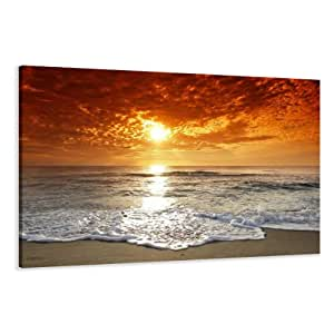 "Picture - art on canvas beach length 31,5"" height 24"", one-part parts model no. XXL 4038 Pictures completely framed on large frame. Art print Images realised as wall picture on real wooden framework. A canvas picture is much less expensive than an oil painting poster or placard"