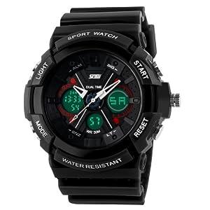 New Unisex Fashion Sport Watch Analog/Digital Water Resist Dual Time Multifunction Alarm Led Womens Mens Wristwatch 6 Colours Option 0966 (Black)
