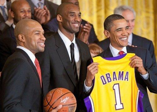 Kobe Bryant Derek Fisher Barack Obama Los Angeles
