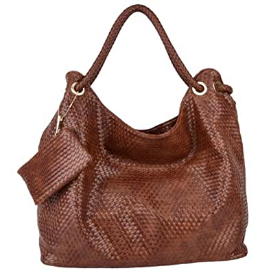 MG Collection VONETTA Large Brown Embossed Woven Hobo Shoulder Bag w/Mini Purse