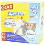 Glad ForceFlex OdorShield Tall Kitchen Drawstring Fresh Clean Trash Bags, 13 Gallon, 68 Count