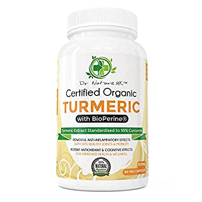 Organic Turmeric & Curcumin 95% Extract with BioPerine® by Dr Nature.UK | 90 Vegan Friendly 500mg Capsules | Powerful Anti-inflammatory & Joint Support | Premium Quality Supplement | 100% Money Back Guarantee!