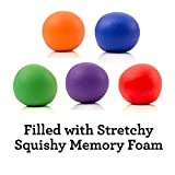 Squishy Stress Relief Balls - Pack of 5 - Non-toxic, BPA/Phthalate/Latex-Free (Colors as Shown)