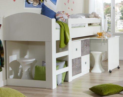 halbhohes bett mit schreibtisch und kleiderschrank com. Black Bedroom Furniture Sets. Home Design Ideas