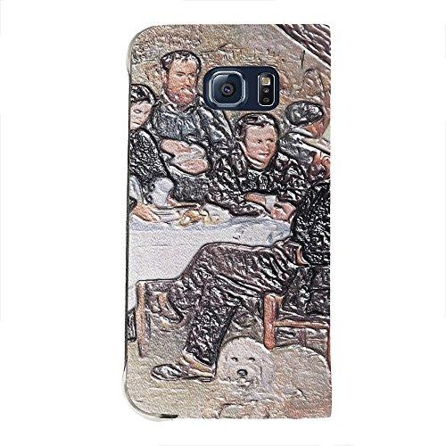 Renoir - The Cabaret Of Mm Antony, Texture Portafoglio Mesh Flip Custodia Protectiva in Pelle Wallet Case Cover Shell Nero con Design Strutturato per Samsung Galaxy S6 Edge G9200.