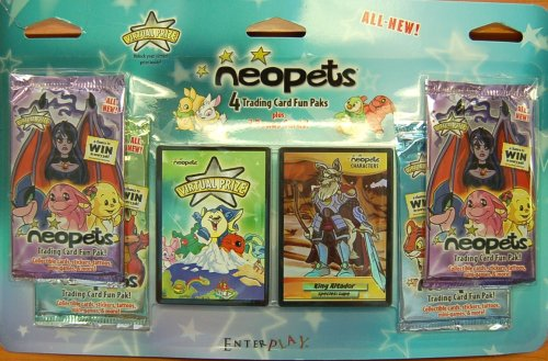 Neopets 4 Trading Card Fun Packs (2 Bonus Cards)