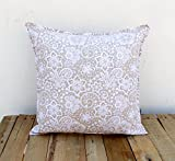 Beige Throw Pillow Cover Lace Print Cotton Pillow Sizes Available (18X18)