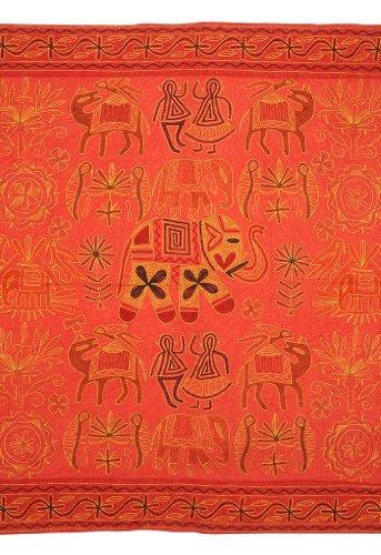 Imagen 1 de Algodón indio Tapiz de pared colgante con Zari y tamaño del bordado tradicional de trabajo 54 x 33 pulgadas