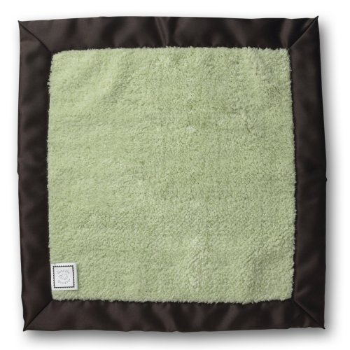SwaddleDesigns Baby Lovie, Pastel Security Blankie with Chocolate Brown Trim, Lime