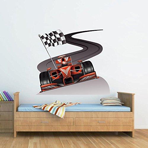Cik190 Full Color Wall Decal Car Racing Formula Race Speed Ring Children's Bedroom
