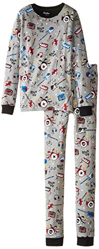 Hatley Little Boys' Pajama Set Overall Rock Band, Grey, 7