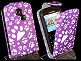 Goldstar® Flower PU Leather Flip Case Cover For Various Samsung Models, Galaxy Ace, S2, S3 Mini, Chat (Purple Paw, Cha@t335 Chat S3350)