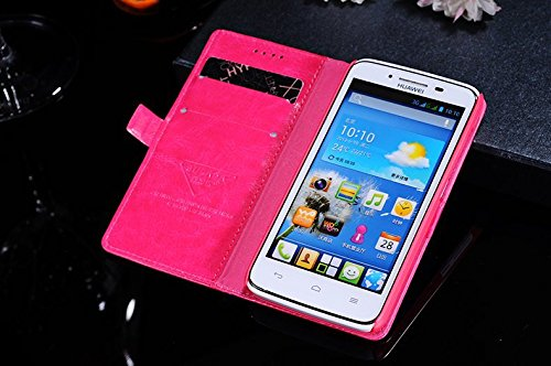 Hi5Gadget Huawei Y511 Wallet Cover PU Leather Shell Protective Skin Case with Card Socket for huawei Y511 (Red)