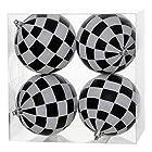 Vickerman 34459 - 4 Black / White Checkered Matte Glitter Ball Christmas Tree Ornament (4 pack) (N142077)