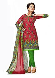 Rajnandini Women's cotton Printed Unstitched salwar suit Dress Material (Red _Free Size)