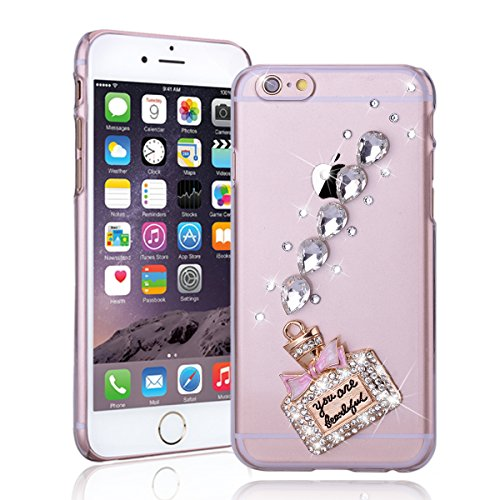 "SMARTLEGEND Hard Case per iPhone 6 Plus iPhone 6S Plus(5.5""), Trasparente Ultra Sottile Bling Strass Rigida PC Back Cover Bumper, Fashion Elegante Design Pattern Duro Protettiva Caso Copertura con Brillantini Diamante - Profumo"