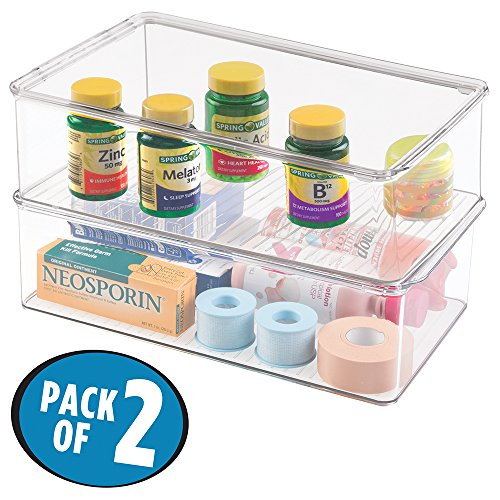 mDesign Storage Box Organizer for Vitamins, Supplements, Health Supplies - Set of 2, Medium, Clear (Plastic Shelves Medicine Cabinet compare prices)