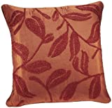 Shahenaz Home Shop Amodini Leaf Embroidery Poly Dupion Cushion Cover - Orange and Rust