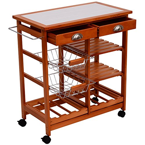HomCom 29-Inch Portable Rolling Tile Top Kitchen Trolley Cart with 6-Bottle Wine Rack (Kitchen Rolling Cart compare prices)