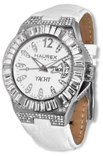Haurex Italy 8S340DWW - Reloj analógico de cuarzo para mujer con correa de piel, color blanco