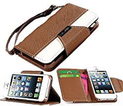 myLife (TM) Coffee Brown and White Classic Design - Textured Koskin Faux Leather (Card and ID Holder + Magnetic Detachable Closing) Slim Wallet for iPhone 5/5S (5G) 5th Generation iTouch Smartphone by Apple (External Rugged Synthetic Leather With Magnetic