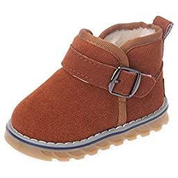 Femizee Newborn Toddler Baby Boy Girl Suede Leather Warm Fur Winter Snow Boot Infant Velcro First Walking Shoes,Brown,4 M US Toddler